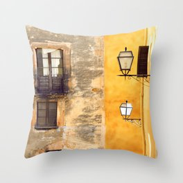 Yellow and Old Wall Throw Pillow