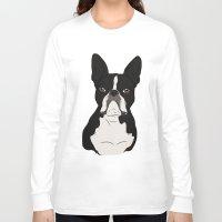 boston terrier Long Sleeve T-shirts featuring Boston Terrier by Rachel Barrett