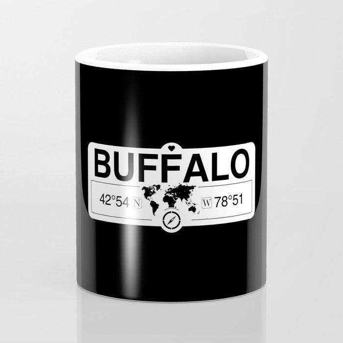 Buffalo New York GPS Coordinates Map Artwork with Compass Coffee Mug