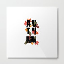 Autumn word and leaves BLACK Metal Print