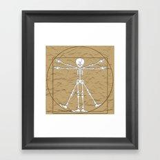 Vitruvian Man Skeleton Cartoon  Framed Art Print
