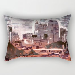Watercolor painting  of skyline of downtown Raleigh, NC Rectangular Pillow