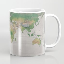 Rustic physical world map in taupe Coffee Mug