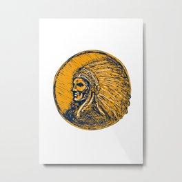 Native American Indian Chief Headdress Drawing Metal Print