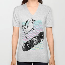 Kick Flipping Kitty | Skateboarding SK8CAT | Tony Hawks Cat Unisex V-Neck