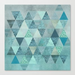 Glamorous Blue Glitter And Foil Triangles Canvas Print