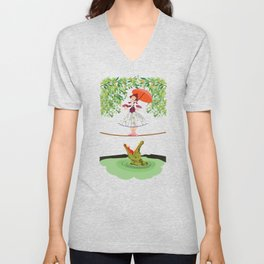 The Umbella girl With crocodile Unisex V-Neck