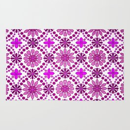 Magenta pink white abstract geometrical floral Rug