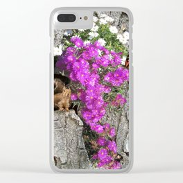 Flowering Vygies and a Squirrel in a tree Clear iPhone Case