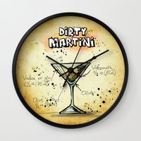 martini Wall Clocks featuring Dirty Martini by jamfoto
