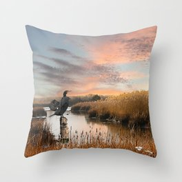 Sunset in the Wetlands Throw Pillow
