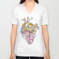 ellie goulding V-neck T-shirts featuring my heart is real by Bianca Green