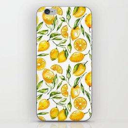 lemon watercolor print iPhone Skin