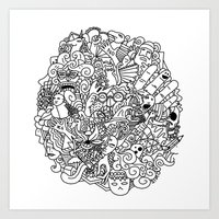 doodle Art Prints featuring Doodle  by Vibe-Art