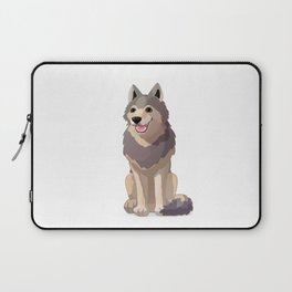 Happy gray wolf. Vector graphic character Laptop Sleeve