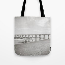 Johnny Mercer's Fishing Pier Wrightsville Beach NC Sepia Black and White Tote Bag