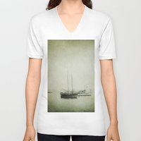 boats V-neck T-shirts featuring Two boats by Victoria Herrera
