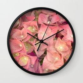 Pink hydrangea in LOVE - Flower floral Wall Clock