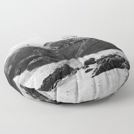 Leo Carrillo State Beach | Malibu California | Black and White Photography | Malibu Photography Floor Pillow