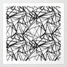 Black and white abstract geometric pattern . Art Print