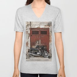 Boy On Motorcycle, George Town, Penang Unisex V-Neck