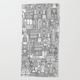 gingerbread town black white Beach Towel