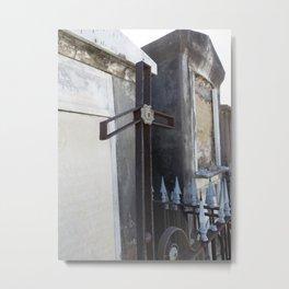 New Orleans: Raised Cemetery, Bent Cross Metal Print