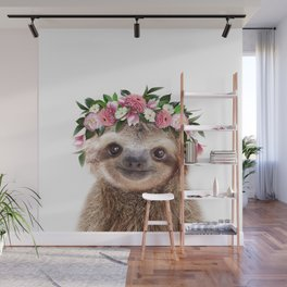 Baby Sloth With Flower Crown, Baby Animals Art Print By Synplus Wall Mural