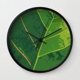Green Green Leaf Wall Clock