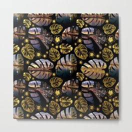 Brisbane River Tropical Leaf Pattern Metal Print