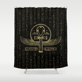 Egyptian Cross - Ankh - Gold and black Shower Curtain