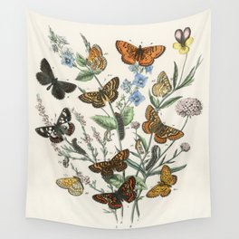 Vintage Scientific Illustration Butterfly Botanical Floral Lithograph Encyclopaedia Diagrams  Wall Tapestry