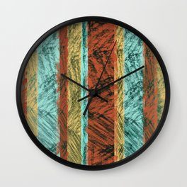 Tribal Scratch Stripes Orange Turquoise Straw Yellow Wall Clock