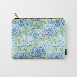 Blue floral hydrangea flower flowers Vintage watercolor pattern Carry-All Pouch