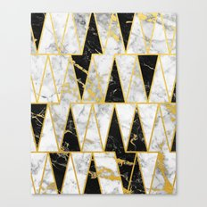 Mixed Marble Triangles // Gold Flecked Black & White Marble Canvas Print