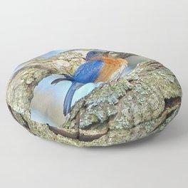Bluebird in Tree Floor Pillow