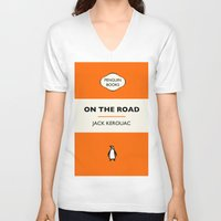 kerouac V-neck T-shirts featuring Penguin Book / On The Road - Jack Kerouac  by FunnyFaceArt