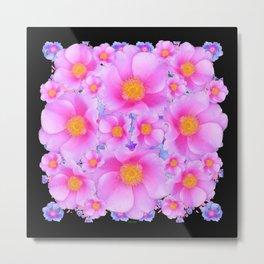 Black Art Design With Pink Roses Metal Print