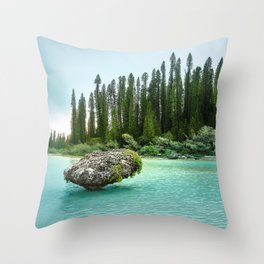 In the wilderness - Natural lagoon at Isle of Pines, New Caledonia Throw Pillow