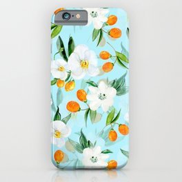 mediterranean summer kumquat and orchid branches on turquoise iPhone Case