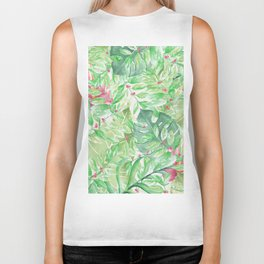 Hand painted watercolor green pink tropical leaves floral Biker Tank