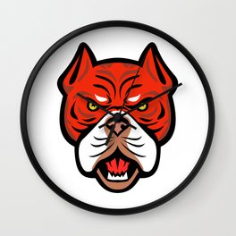 Red Tiger Bulldog Head Front Mascot Wall Clock