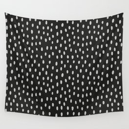 Hand painted black gray watercolor brushstrokes pattern Wall Tapestry