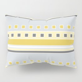 Squares and Stripes in Yellow and Gray Pillow Sham