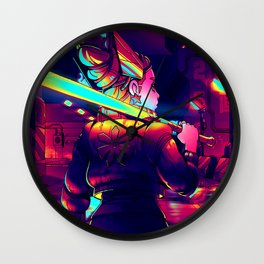 Cyberpunk Princess of Power Wall Clock