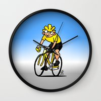 cycling Wall Clocks featuring Cyclist - Cycling by Cardvibes.com - Tekenaartje.nl