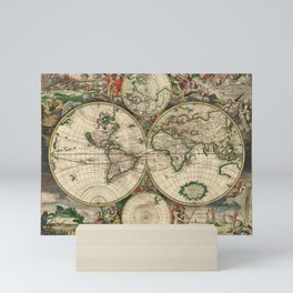 1689 Map of the World by Gerard van Schagen Mini Art Print