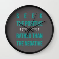 positive Wall Clocks featuring #positive by Cool_Design