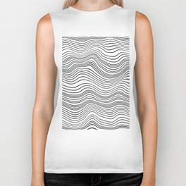 Black and White Waves Biker Tank