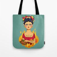 frida Tote Bags featuring Frida by La Perera